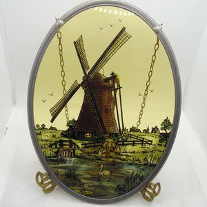 Vintage hand painted glass windmill pond bird oval